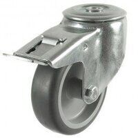 80DRBH12TPRSWB 80mm Synthetic Non-Marking Rubber on Plastic Centre - Bolt Hole Braked