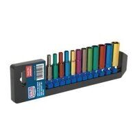 AK282D Sealey 12pc 1/4inch Sq Drive 6pt Deep WallDrive® Metric Multi-Coloured Socket Set
