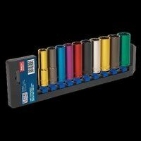 AK288D Sealey 10pc 1/2inch Sq Drive 6pt Deep WallDrive® Metric Multi-Coloured Socket Set