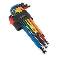 AK7190 Sealey 9pc Colour-Coded Long Metric Ball-End Hex Key Set