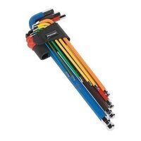 AK7191 Sealey 9pc Colour-Coded Extra-Long Metric Ball-End Hex Key Set