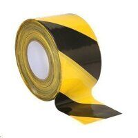 BTBY Sealey Black/Yellow Non-Adhesive Hazard Warning Barrier Tape (80mm x 100mtr)