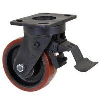 BZK200PTBSWB 200mm Brown Poly on Cast Iron Heavy Duty Castor - Swivel 4 Bolt Braked