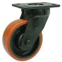 BZK250PTBJ 250mm Brown Poly on Cast Iron Heavy Duty Castor - Swivel 4 Bolt Hole Unbraked