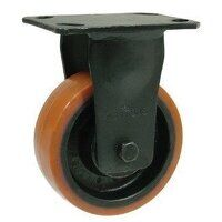 BZKF200PTB 200mm Brown Poly on Cast Iron Heavy Duty Castor - Fixed 4 Bolt Unbraked