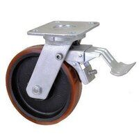 BZMJ125PTBJSWB 125mm Brown Poly on Cast Iron Heavy Duty Castor - Swivel 4 Bolt Hole Braked