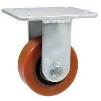BZMJF200NP 200mm Red Poly on White Nylon Heavy Duty Castor - Fixed 4 Bolt Hole Unbraked