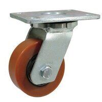 BZMJ100PTBJ 100mm Brown Poly on Cast Iron Heavy Duty Castor - Swivel 4 Bolt Hole Unbraked