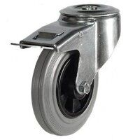 100DRBH12GRBSWB 100mm Grey Rubber Tyre Plastic Centre - Bolt Hole Braked