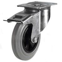 100DR4GRBSWB 100mm Grey Rubber Tyre Plastic Centre - Braked