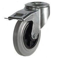 125DRBH12GRBSWB 125mm Grey Rubber Tyre Plastic Centre - Bolt Hole Braked