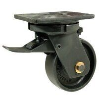 BZQ200CRBJSWB 200mm Black Elastic Rubber on Cast Iron Heavy Duty Castor - Swivel 4 Bolt Braked