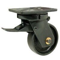 BZQ300CRBJSWB 300mm Black Elastic Rubber on Cast Iron Heavy Duty Castor - Swivel 4 Bolt Braked