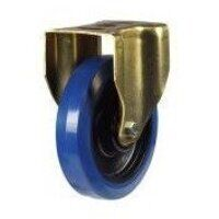200GDH8BNBJ 200mm Blue Elastic Rubber Industrial Castor - Fixed