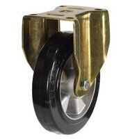 BZPF125ERBJ 125mm Elastic Rubber Tyre Aluminium Centre Heavy Duty Castors - Fixed 4 Bolt Unbraked
