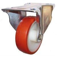 SS100DR8PNO 100mm Stainless Steel Polyurethane Tyre Nylon Centre Castor - Fixed 4 Bolt Unbraked