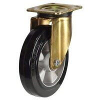 BZP160ERBJ 160mm Elastic Rubber Tyre Aluminium Centre Heavy Duty Castors - Swivel 4 Bolt Hole Unbraked