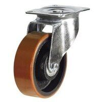 BZPH200PTB 200mm Polyurethane Tyre Cast Iron Centre Heavy Duty Castor - Swivel 4 Bolt Unbraked