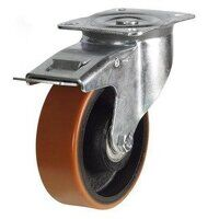 BZPH125PTBSWB 125mm Polyurethane Tyre Cast Iron Centre Heavy Duty Castor - Swivel 4 Bolt Braked