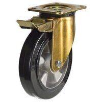 BZP160ERBJSWB 160mm Elastic Rubber Tyre Aluminium Centre Heavy Duty Castors - Swivel 4 Bolt Braked