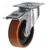 BZPH200PTBSWB 200mm Polyurethane Tyre Cast Iron Centre Heavy Duty Castor - Swivel 4 Bolt Braked