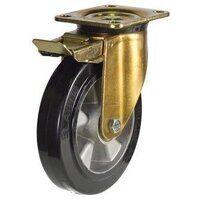 BZP200ERBJSWB 200mm Elastic Rubber Tyre Aluminium Centre Heavy Duty Castors - Swivel 4 Bolt Braked