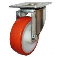 SS200DR4PNO 200mm Stainless Steel Polyurethane Tyre Nylon Centre Castor - Swivel 4 Bolt Unbraked
