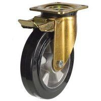 250GDH4EABJSWB 250mm Heavy Duty Elastic Rubber On Aluminium Centre Braked Castor (Gold Bracket)