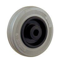 BZMM100WGR 100mm Grey Rubber Tyre Plastic Centre Wheel