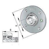 PME25 25mm INA 4 Bolt Round Flanged Bearing