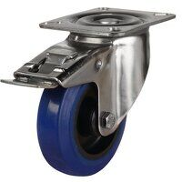 SS100DR4BNBSWB 100mm Stainless Steel Blue Elastic Rubber Non-Marking - Swivel 4 Bolt Hole Braked