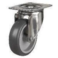 SS100DR4TPR 100mm Synthetic Non-Marking Rubber Tyre Castor - Swivel 4 Bolt Hole Unbraked