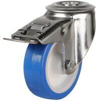 SS100DRBH12EPNSWB 100mm Stainless Steel Blue Elastic Polyurethane - Swivel Single Bolt Hole Braked