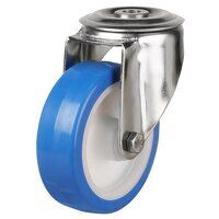 SS100DRBH12EPN 100mm Stainless Steel Blue Elastic Polyurethane - Swivel Single Bolt Hole Unbraked