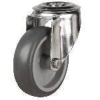 SS100DRBH12TPR 100mm Synthetic Non-Marking Rubber Tyre Castor - Swivel Single Bolt Hole Unbraked