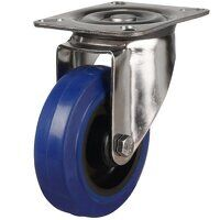 SS125DR4BNB 125mm Stainless Steel Blue Elastic Rubber Non-Marking - Swivel 4 Bolt Hole Unbraked