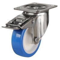SS125DR4EPNSWB 125mm Stainless Steel Blue Elastic Polyurethane - Swivel 4 Bolt Hole Braked