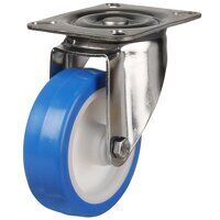 SS125DR4EPN 125mm Stainless Steel Blue Elastic Polyurethane - Swivel 4 Bolt Hole Unbraked