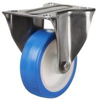SS125DR8EPN 125mm Stainless Steel Blue Elastic Polyurethane - Fixed 4 Bolt Hole Unbraked