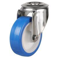 SS125DRBH12EPN 125mm Stainless Steel Blue Elastic Polyurethane - Swivel Single Bolt Hole Unbraked