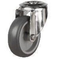 SS125DRBH12TPR 125mm Synthetic Non-Marking Rubber Tyre Castor - Swivel Single Bolt Hole Unbraked