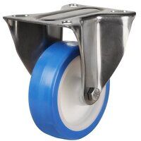 SS150DR8EPN 150mm Stainless Steel Blue Elastic Polyurethane - Fixed 4 Bolt Hole Unbraked