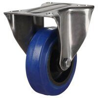SS80DR8BNB 80mm Stainless Steel Blue Elastic Rubber Non-Marking - Fixed 4 Bolt Hole Unbraked