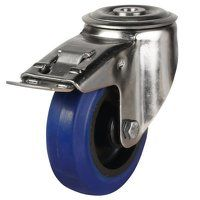 SS80DRBH12BNBSWB 80mm Stainless Steel Blue Elastic Rubber Non-Marking - Swivel Single Bolt Hole Braked