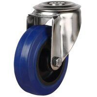 SS80DRBH12BNB 80mm Stainless Steel Blue Elastic Rubber Non-Marking - Swivel Single Bolt Hole Unbraked