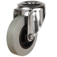 SS80DRBH12GRB 80mm Stainless Steel Rubber Tyre Castor - Swivel Single Bolt Hole Unbraked