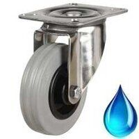 Stainless Castors - Grey Rubber Tyre