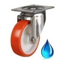 Stainless Castors - Red Polyurethane Tyre