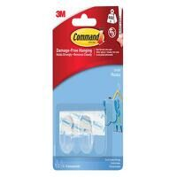 Clear Hooks with Clear Strips, Small (Pack 2)