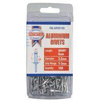 Aluminium Rivets 3.2 x 6mm Short Pre-Pack of 100